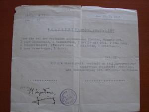 Arresto di Martino a Fiume il 25 gennaio 1944. Lista effetti personali.